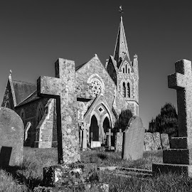 Church of St John the Baptist by Simon Harding - Buildings & Architecture Places of Worship ( warwickshire, england, lower, church, black and white, graves, shuckburgh, black & white, simon harding, grave, nikon, english, worship, p7800, graveyard, cross )
