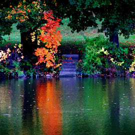 Steps Into Fairy Land by Howard Sharper - City,  Street & Park  Historic Districts ( night photography, riverside, autumn leaves, sunset, reflections, autumn colours )