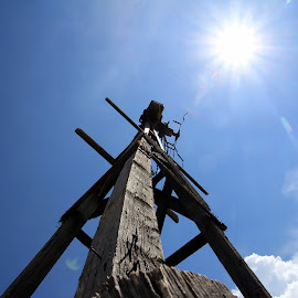 No More Wind For Me by Amanda Crippes - Buildings & Architecture Decaying & Abandoned ( old, wood, sun, windmill, decay )