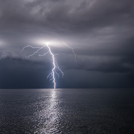 Electric twins by Matic Cankar - Landscapes Weather ( thunder, clouds, lightning, europe, blue, august, summer, sea, storm )