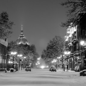 Selby Ave by Jeremy Jordan - City,  Street & Park  Historic Districts ( black and white, snow, cathedral, cityscape, st. paul,  )
