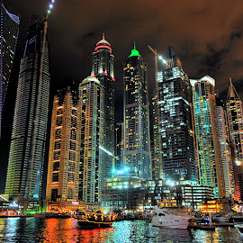 Night Dubai by Tomasz Budziak - City,  Street & Park  Night ( dubai, uae, asia, night, city,  )