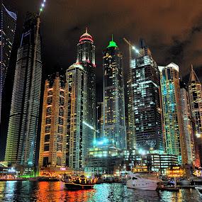 Night Dubai by Tomasz Budziak - City,  Street & Park  Night ( dubai, uae, asia, night, city,  )