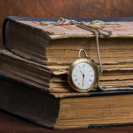 Old Books with pocket watch by Rakesh Syal - Artistic Objects Other Objects