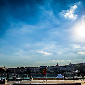 Standing in the sun by Péter Nagy - City,  Street & Park  Skylines ( budapest, girl, sky, sun )