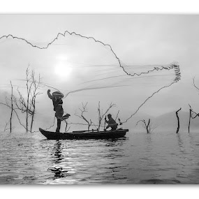 Nghề sông nước by Kenji Le - News & Events World Events ( water, tree, fog, fishing, boat )