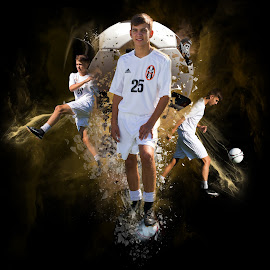 I get a kick out of by Todd Wallarab - Digital Art People ( ball, action, sport, boy, soccer )