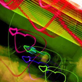 Love by Ashlee Sharp-Owens - Abstract Light Painting ( hearts, light painting, red, blue, colorful, green, pink,  )