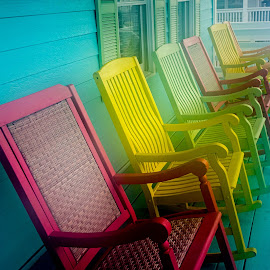 Rockers by Dee Haun - Artistic Objects Furniture ( 170713x9461e1, 2017, colorful, rocking chairs, artistic objects, furniture, tybee beach )