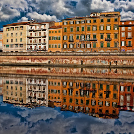 Reflections on river  by Gianluca Presto - Buildings & Architecture Homes ( home, old, reflection, water reflection, europe, tuscany, waterscape, reflections, travel, architecture, house, historic, ancient, buildings, cloudy, pisa, homes, italy, clouds, water, building, houses, beautiful, architectural detail, historic district, architect, european, cloud, river )