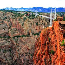 ROYAL GORGE BRIDGE by Gerry Slabaugh - Buildings & Architecture Bridges & Suspended Structures ( suspension bridge, royal gorge, arkansas river, colorado )