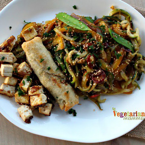 Zucchini Noodle Stir Fry with Sesame Ginger Sauce