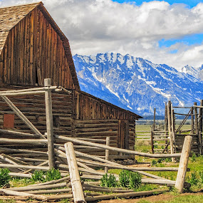 The Barn by Randi Hodson - Buildings & Architecture Decaying & Abandoned ( clouds, fence, mountains, barn,  )