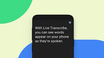 Live Transcribe screen