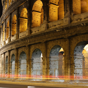 Colosseum by night by Habashy Photography - Travel Locations Landmarks ( colosseum, rome, night, lights )