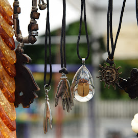 Necklaces At Open Air Market  by Lorraine D.  Heaney - Artistic Objects Jewelry