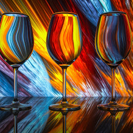 What's Your Poison? by Andy Rigby - Abstract Patterns ( reflection, bright, wine glass, glass, colours )