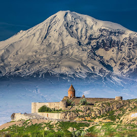 Khor Virap and Mt. Ararat by Mike O'Connor - Landscapes Mountains & Hills ( religion, mountains, khor virap, mt. ararat, church, armenia, snow, monastery, fort, turkey, landscape, apostilic,  )