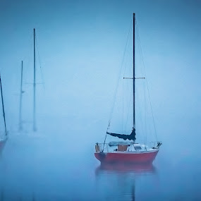 Foggy Morning by Robert Mullen - Digital Art Places ( washington nc, sailboats, fog, boats, waterfront, north carolina, river,  )