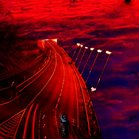 The Road To Hell by Graeme Garton - Digital Art Abstract ( scary, sky, clown, hell, falling, road, demon, devil, parachute )