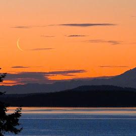 Fingernail Moon, Mt. Baker, WA by Campbell McCubbin - Landscapes Mountains & Hills ( moon, mt. baker, kulshan, sunrise, crescent moon, morning )
