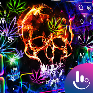 Colorful Neon Skull Weed Keyboard Theme