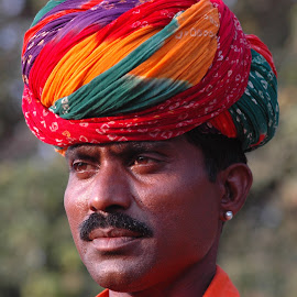 Youth with traditional Turban by Ashwini Attri - People Portraits of Men ( face, colorful, tribe, turban, mangniyar )