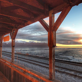 Sunset From The Station by Patricia Phillips - Buildings & Architecture Other Exteriors ( sunsets rr stations alaska potter )