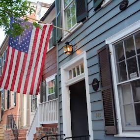 Old Town Alexandria by Jim Schlett - City,  Street & Park  Neighborhoods ( americana, flag, neighborhood, colonial, usa, rowhouse, city )