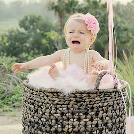 It's not easy being one by Kari McClure Webb - Babies & Children Babies ( girl, tutu, one, baby girl, basket, first birthday, pink, crying, bow, baby,  )