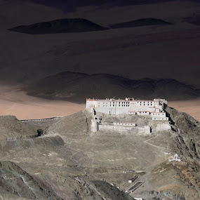 Hanle Monastery... by Tridibesh Indu - Buildings & Architecture Public & Historical ( monastery, glowing, dusk, incredible, hanle, gompa, india, landscape, ladakh )