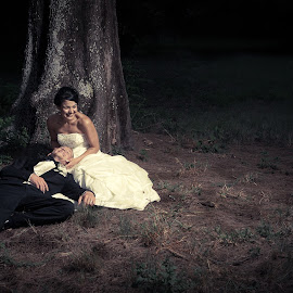 Alone in the woods by Anco Pretorius - Wedding Bride & Groom ( wedding, bride, groom, woods, together )