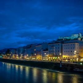 Salzburg in blue.. by Jesus Giraldo - City,  Street & Park  Night ( lights, urban, reflection, salzburg, hdr, buildings, castle, streets, night, river, city )