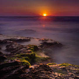 Worm Sunset  by David Khundiashvili - Landscapes Beaches ( sony alpha, long exposure, beach, landscape, rocks )