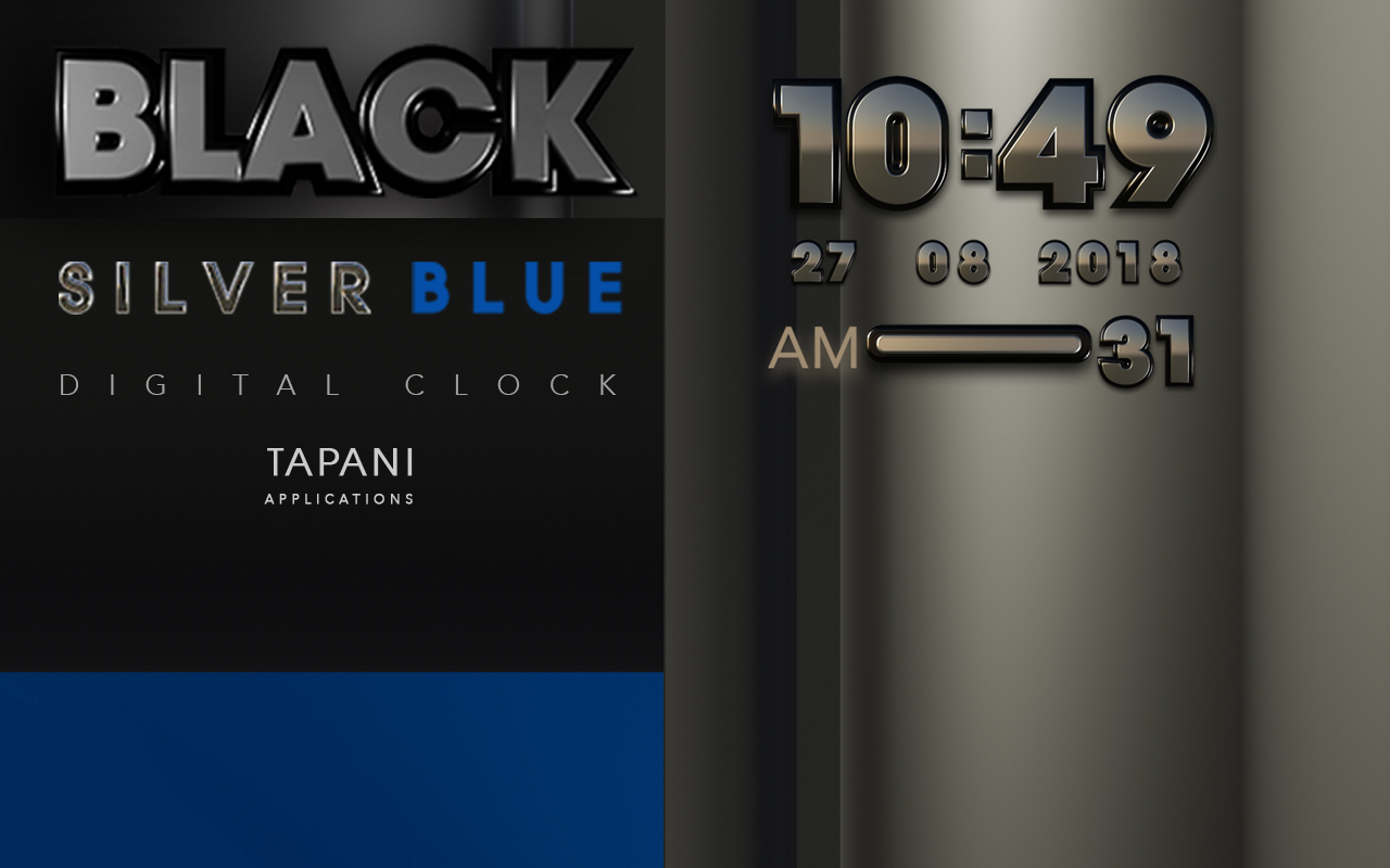 Black silverblue digital clock Screenshot 2