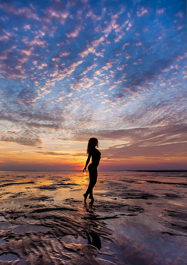 Sunset Silhouette by Claude Schneider - People Fine Art ( clouds, reflection, model, colourful, sunset, silhouette, beach )