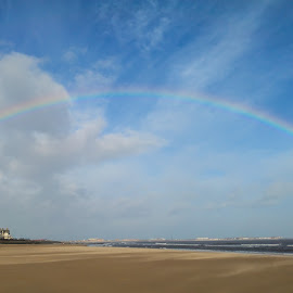 Rainbow by Peter Brown - Instagram & Mobile Android ( clouds, sky, windy, blue, weather, sea, seaside, beach, landscape, rainbow,  )