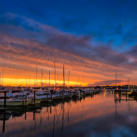 Half Moon Bay marina by Johan Koch - Transportation Boats ( sunset, half moon bay, marina )