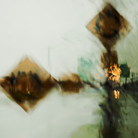Roundabout by Richard Young - Abstract Light Painting ( signs, double exposure, richard l young, wet, rain )