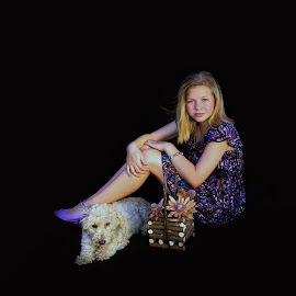 Girl with her dog by Lize Hill - Babies & Children Child Portraits