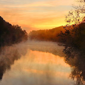 Saluda River Sunrise by Jonathan Wheeler - Landscapes Sunsets & Sunrises ( wild and scenic river, fog, columbia sc, sunrise, saluda river )