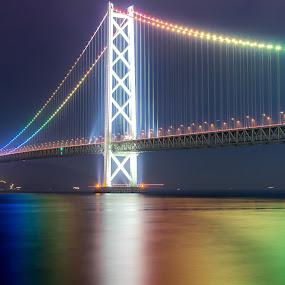 Pearl Bridge by Ryusuke Komori - Buildings & Architecture Bridges & Suspended Structures ( pearl, japan, color, sea, night, bridge, kobe )