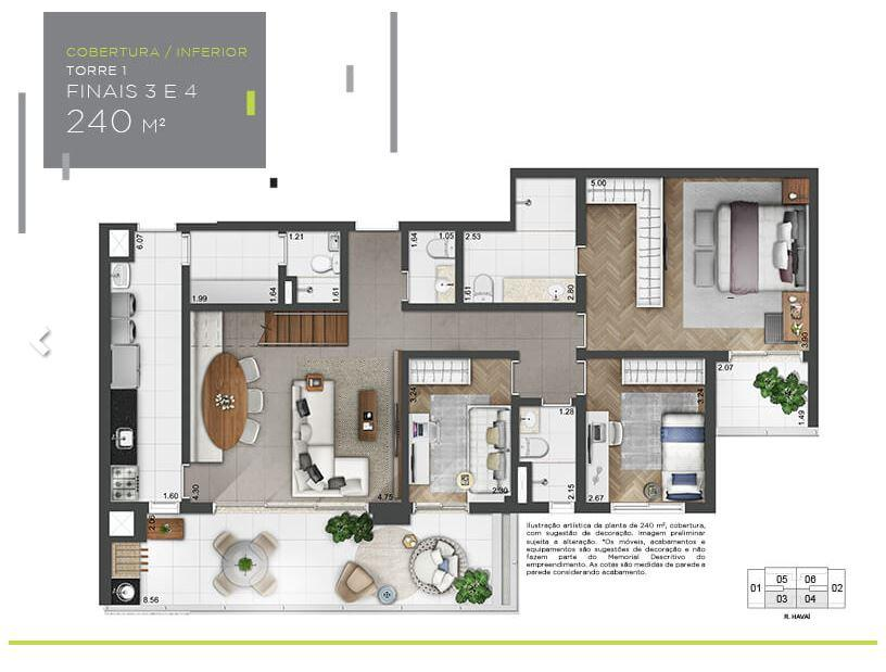 Planta Cobertura Inferior - 240 m²