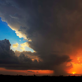 New Mexico Supercell at  Sunset by Brett Wright - Landscapes Cloud Formations