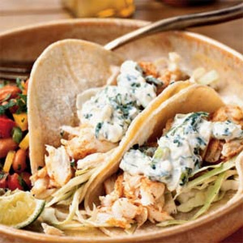 Fish Tacos with Lime-Cilantro Crema