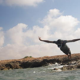 Flying to the sea  by Anees Al-Arafe - Sports & Fitness Swimming ( water, flying, jumping, fly, sea, swimming, jump )