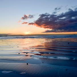Lowdown blue by Willem Pretorius - Landscapes Beaches ( clouds, reflection, blue, beach, sunrise )