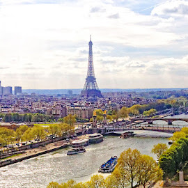 Paris on Seine by Radu Eftimie - City,  Street & Park  Vistas ( eifel tower, paris, seine river, boats, bridges, airial view )