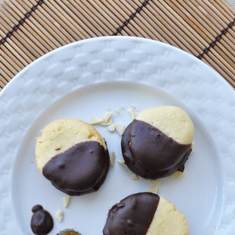 Chocolate Dipped Almond Sandwich Cookies