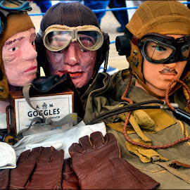 Helmets and gloves from 1940s by Nic Scott - Artistic Objects Clothing & Accessories ( 1940s, goggles, gloves, helmet, brighouse )
